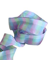 Carreaux Rose Bleu French Wired Ribbon