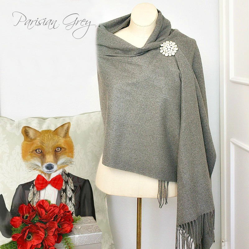 Luxurious Cashmere Wrap Parisian Grey
