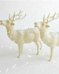 Vintage Estate Celluloid Christmas Reindeer Pair Large