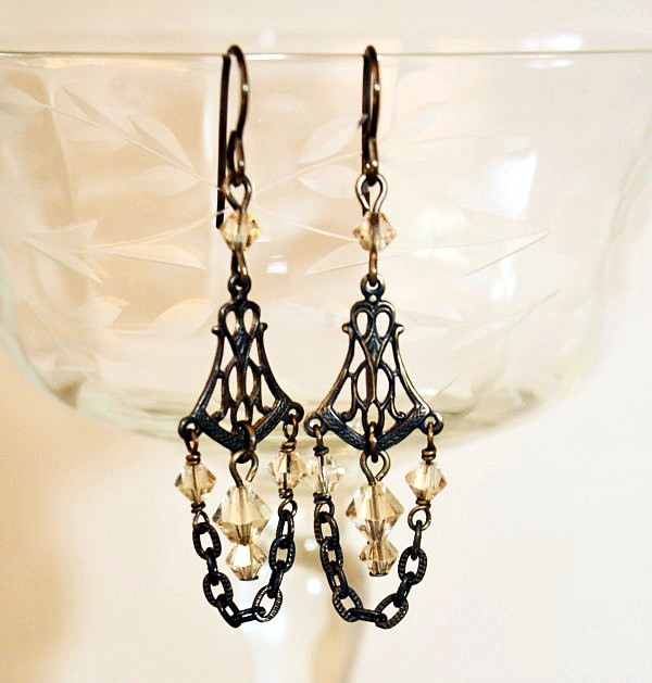 La Decadence Champagne Crystal Earrings