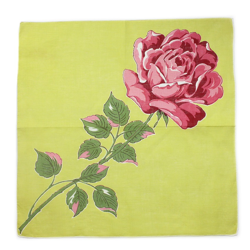 Vintage Chartreuse Green Handkerchief with Huge Pink Rose