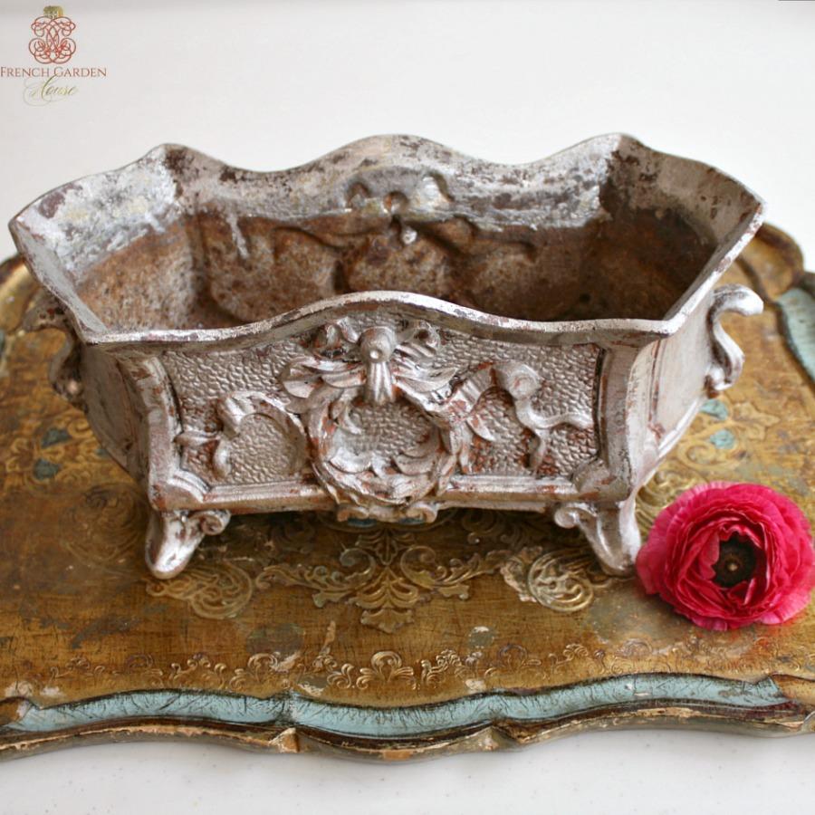 Antique French Rococo Revival Cast Iron Jardiniere Silver