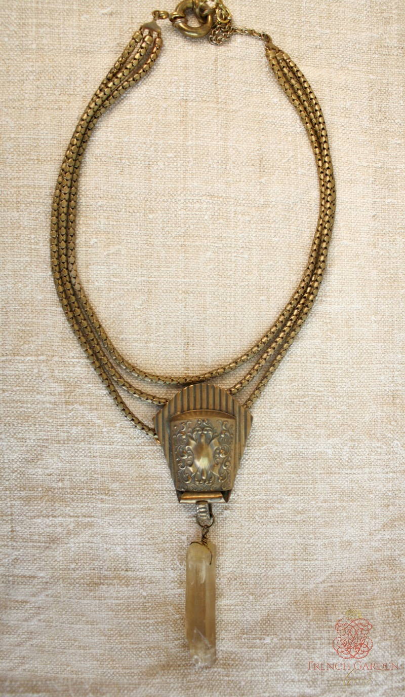 Antique Chatelaine Watch Clip with Citrine Crystal Necklace
