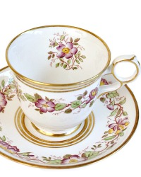 Hand Painted Morning Glory Lavender Floral Teacup Royal Chelsea