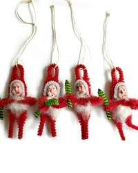 Vintage Santa Chenille Ornaments or Package Toppers