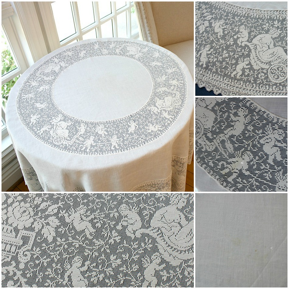Antique Ivory Linen Cherubs Filet Lace Round Tablecloth