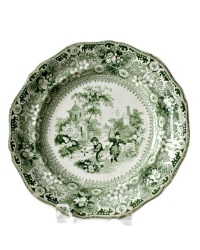 Early 1800's Staffordshire Green Transferware Plate Children