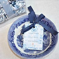 Luxurious Silk Sachets Gift Set Delft Blue Chinoiserie