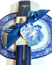 Hand Dipped Taper Candles Gift Set Chinoiserie Blue