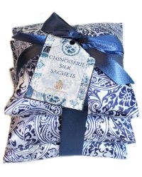 Silk Sachets Set of 3 Blue Chinoiserie
