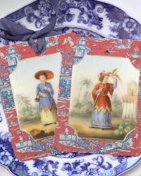Set of Six Chinoiserie Gift Tags