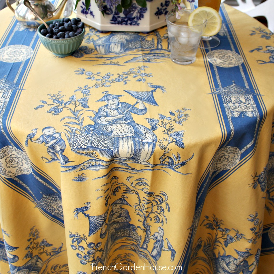 French Imperial Chinoiserie Tablecloth Blue Amp Yellow