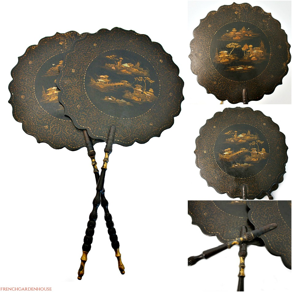 Antique Papier Mache Face Screens Chinoiserie
