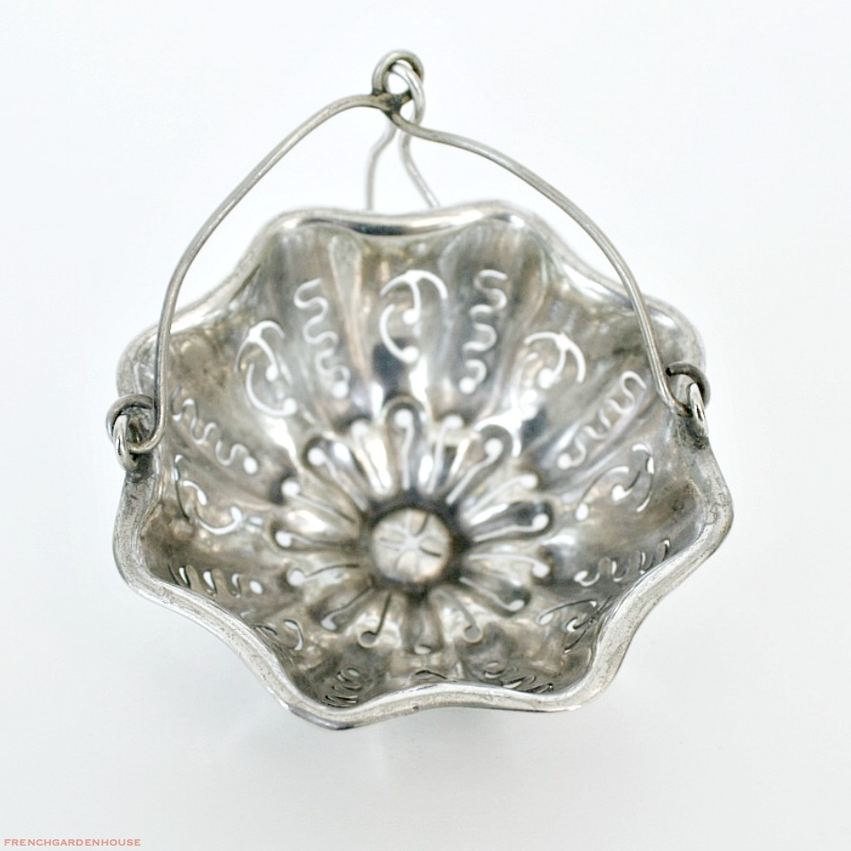 Antique French Christofle Silver Plate Tea Strainer Basket