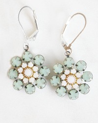 Chrysolite Opal and White Alabaster Earrings