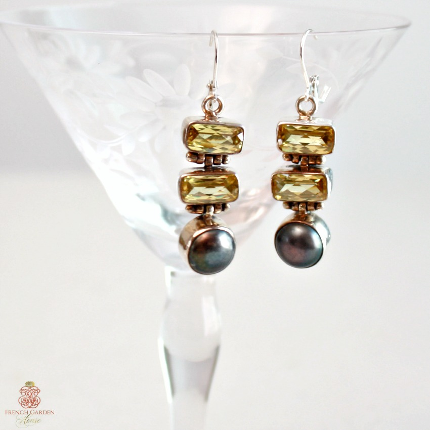 One of a Kind Peacock Pearl and Citrine Sterling Earrings