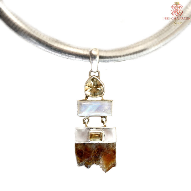 Citrine and Amethyst Sterling Necklace