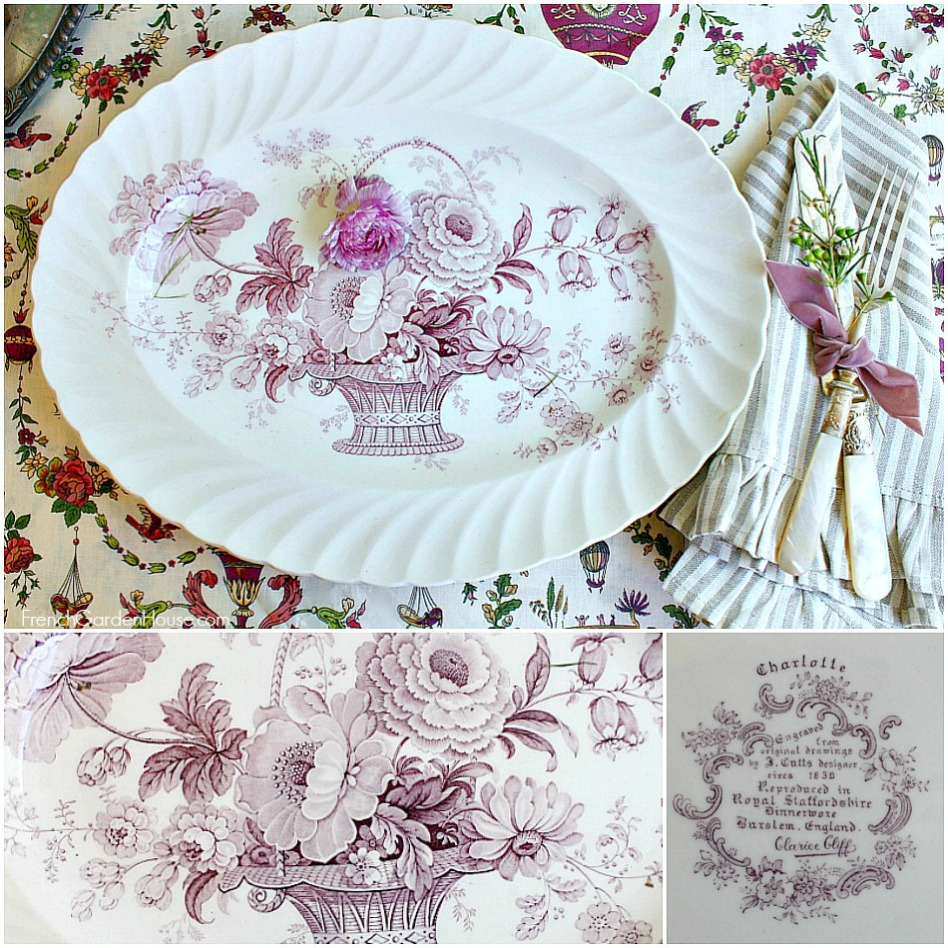 Vintage Royal Staffordshire French Basket with Flowers Lavender Platter