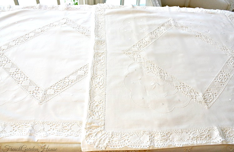 Antique Hand Made Cluny Lace Continental Pillow Shams Pair