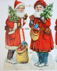 Vintage Father Christmas Die Cuts Scraps