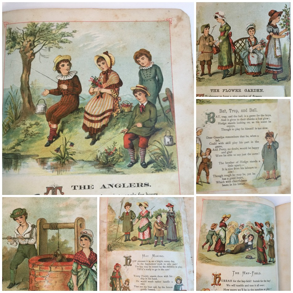 Antique Little Wide Awake Toy Book Country Scenes 1881
