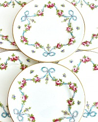 Antique Crown Staffordshire Blue Bow Rose Enameled Cake Plate Set of 6
