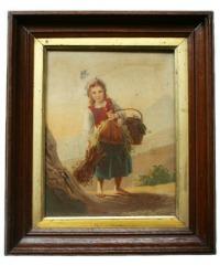 Antique Chromo Print of a Country Girl