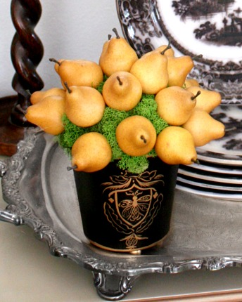 French Winter Pear Topiary in Tole Pot