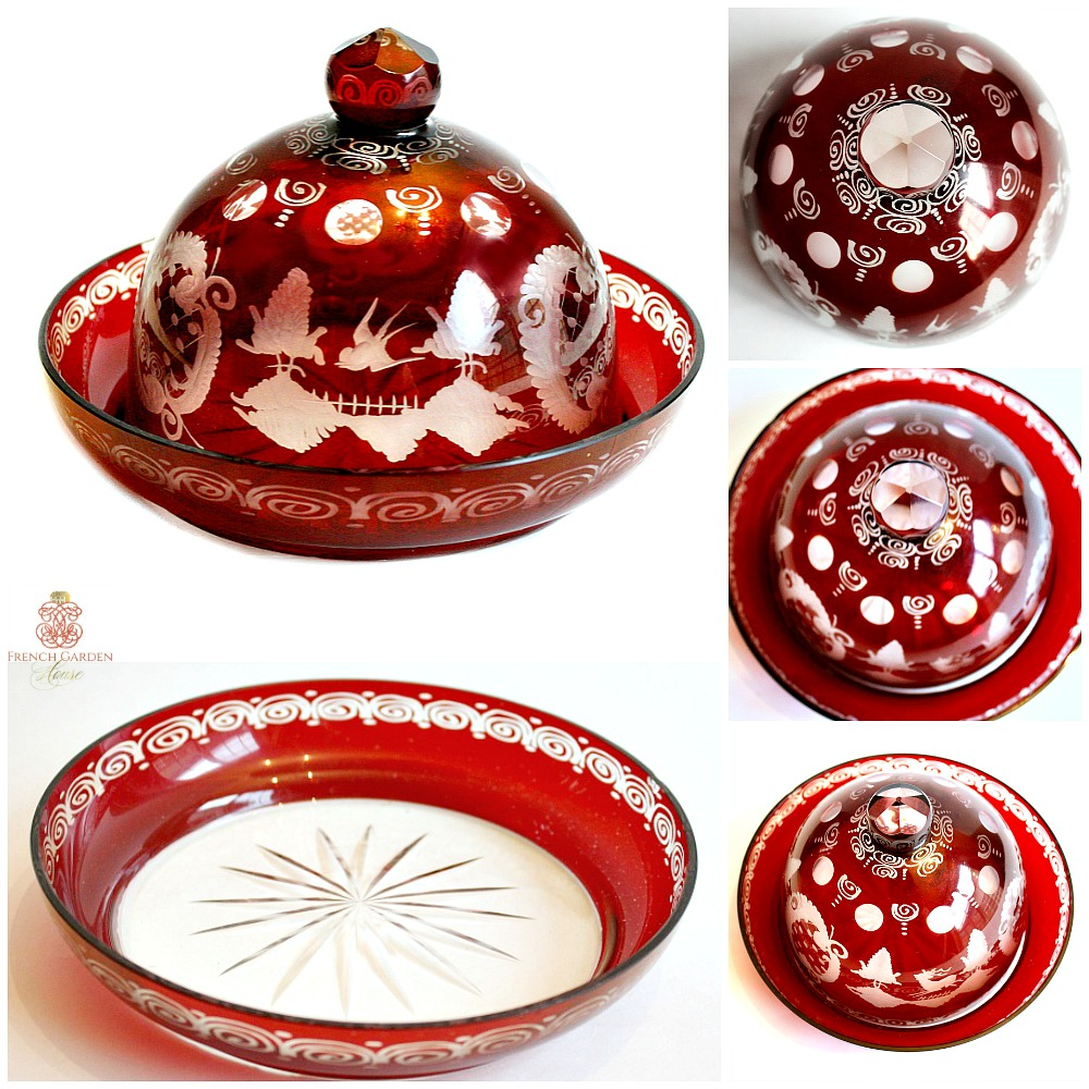 Antique Ruby Red Cut to Clear Bohemian Glass Cheese Dome