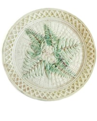 Antique American Majolica Plate Cream Ferns and Flowers