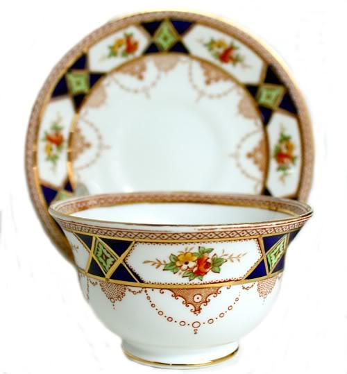 Antique Bridgwood & Son Floral Crown Tea Cup