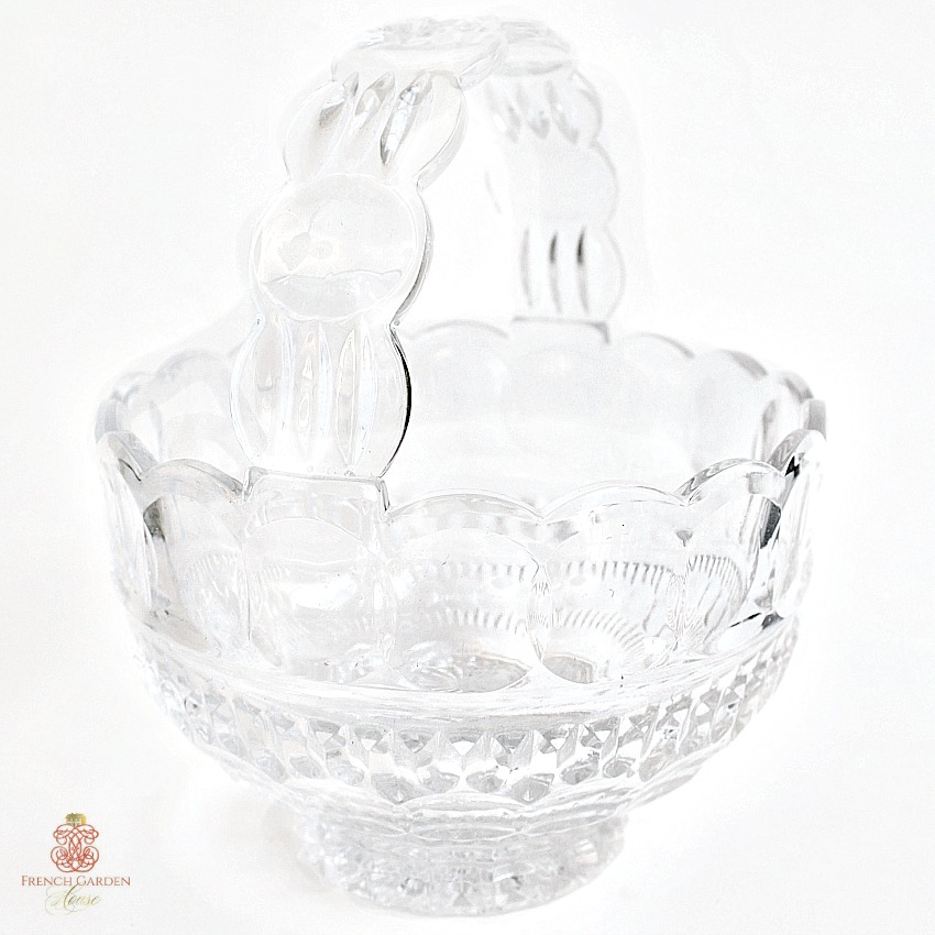 Estate Heavy Clear Glass Thumbprint Handled Rose Basket