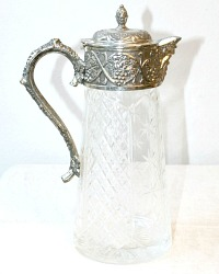 English Silver Cut Crystal and Silver Plate Mounted Claret Jug