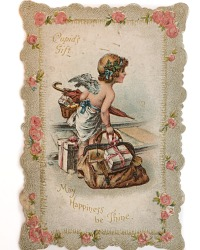 Antique Valentine Die Cut Pink Roses Cupid's Gift