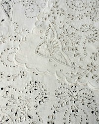 Handmade Broderie Anglaise Natural White Linen Square Tablecloth