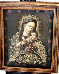 Antique Cuzco School Painting Madonna & Child Nuestra Senora de La Leche