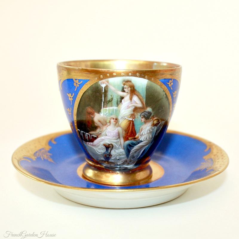 Hand Painted Enameled Raised Gilt Blue Demitasse Cup & Saucer II