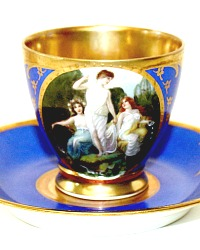 Hand Painted Enameled Raised Gilt Blue Demitasse Cup & Saucer I