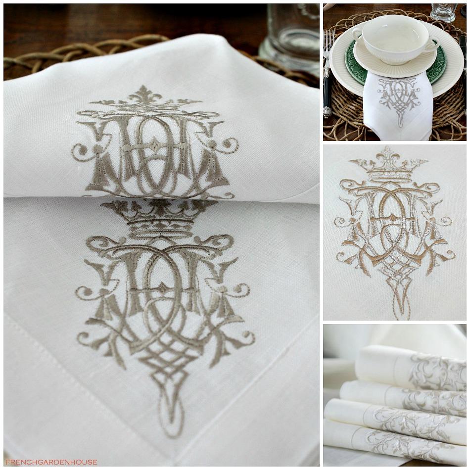 European Luxury Linen Royal Crest Embroidered Napkin Set of 4