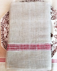 Antique French Hand Woven Linen & Flax Natural Red Stripe Towel