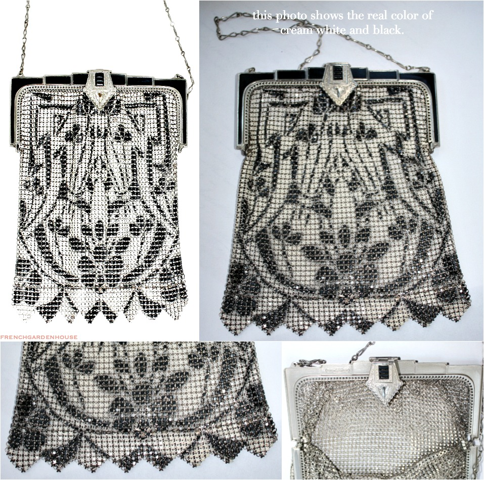 Art Deco Whiting & Davis Black & Cream White Mesh Purse with Black Enameled Frame