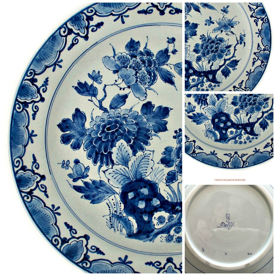 Delft Blue Hand Painted Chinoiserie Plate