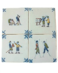 Dutch Delft Country Tiles Children at Play Set of 4