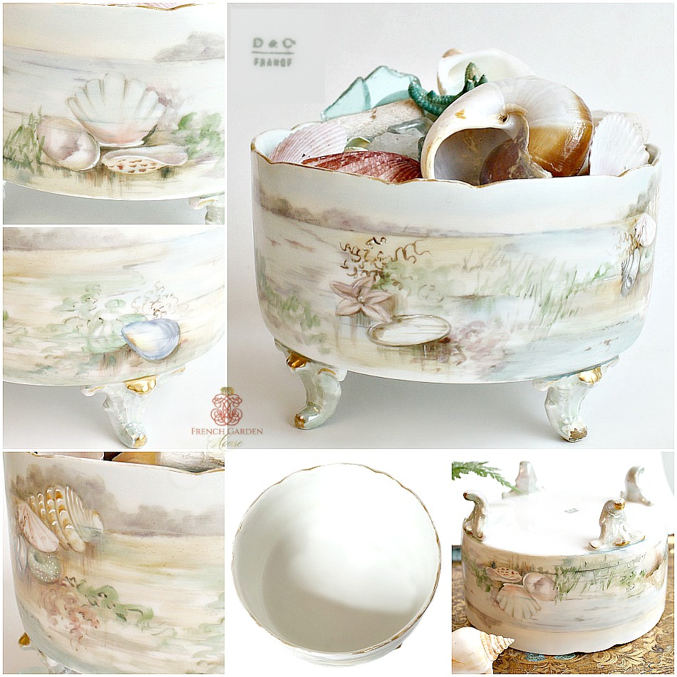 Antique French Hand Painted Enameled Limoges Porcelain Sea Ferner Jardiniere