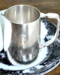 Vintage Hotel Silver Large Pitcher Heraldic Crest
