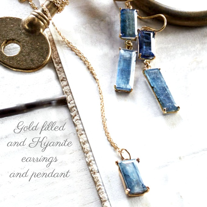 Cote d'Azur Kyanite and Gold Filled Pendant Necklace