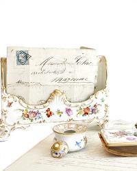 Antique Hand Painted Dresden Desk Letter Holder Set