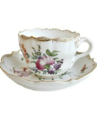 Antique Dresden Demitasse Cup & Saucer