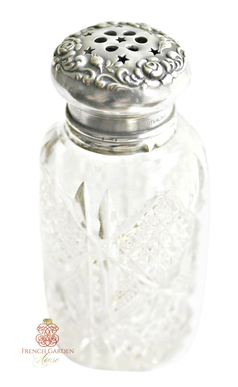 Antique Sterling and Cut Crystal Talc Dispenser Roses