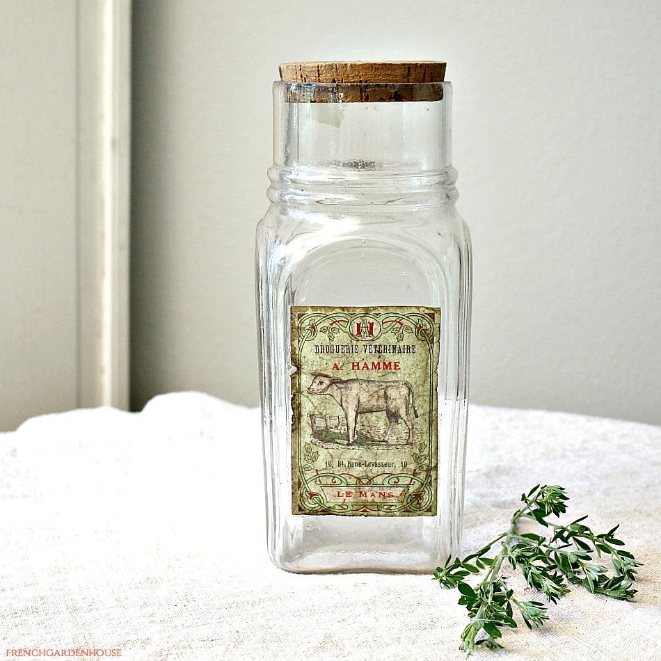 Vintage French Pharmacy Glass Storage Jar Hamme